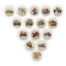 50pcs Traffic 2 Hole Round Wood Buttons Clothing Decor Sewing Scrapbooking 15mm