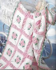 Crochet PATTERN- Crochet rose baby blanket in DK wool