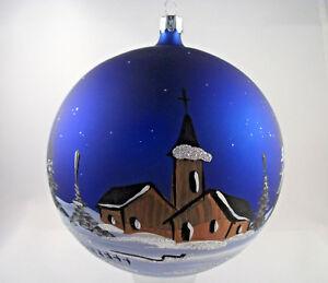 Weihnachts-Fensterkugel Glas Groß 14cm blau mundeblasen & handbemalt Lauscha