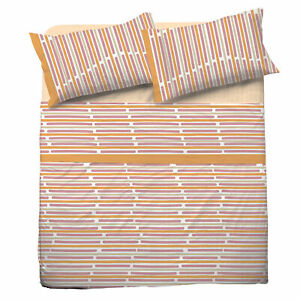 Set Bed Pompea Rule Sheets Above Under with Corners Pillowcase Orange
