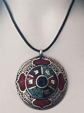 Nepal Wholesale Lot Mandala Amulet Stone Tibetan Silver Filigree BoHo Pendant