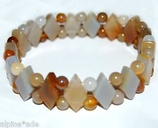 """NEW 8"""" NATURAL AGATE GEMSTONE STRETCH CUFF ANKLET BRACELET #E10b FAST SHIPPING!"""