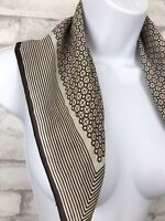 Vintage Italy Scarf Brown White Dots And Stripes Print Polyester Hair 20x20""