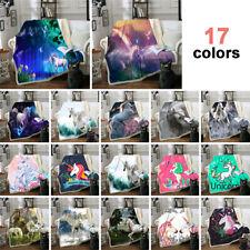 New 3D Rainbow Unicorn Throw Blanket Warm Fur Bed Sofa Quilt 150*130cm/150*200cm