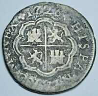 1726 Spanish Silver 1 Reales Genuine Antique Colonial 1700s Pirate Treasure Coin
