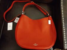 New COACH PURSE NOMAD HOBO IN GLOVETANNED LEATHER F36026 TRUE RED Retail $495.00