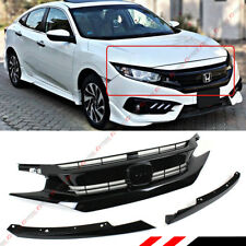 FOR 2016-18 HONDA CIVIC 10TH GEN PAINTED BLK RS STYLE FRONT HOOD GRILL + EYE LID