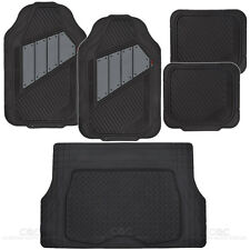 Motor Trend Two Tone Rubber Car Floor Mats & Cargo Mats for Car Van SUV - Gray