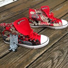 Converse Superman Hi Top Sneakers Mens 11.5 W 9.5 Red All Star Shoes DC Comics
