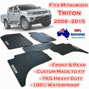 Heavy Duty Floor Mats Tailor Made Mitsubishi Triton 2006 - 2015 Dual Cab Black