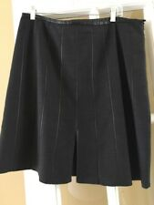 ARMANI COLLEZIONI Black Wool Leather Striped and Trim Lined Skirt Size 12