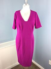 Anne Klein XL 12 14 Purple Sheath dress Ribbed Career Cocktail Stretch short slv