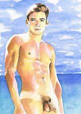 "PRINT Original Art Work Watercolor Painting Gay Male Nude ""Warmly"""
