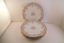 Vintage Elite Works Limoges France Pink Roses Blue Flowers Set of 4 Bread Plates