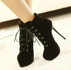 Womens Round Toe Suede Platform Lace Up Ankle Riding Boots High Heels Stilettos