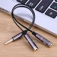 0.2m 3.5mm Stereo Audio Y Splitter Male to 2 Female Headphone Mic Adapter Cable