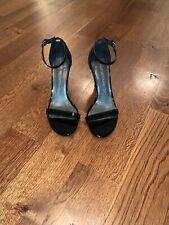 New $398 Stuart Weitzman Nunakedstraight Sandals ShoEs Black Patent Leather 8.5M