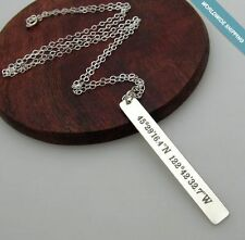 GPS Bar Necklace - Minimalist Jewelry - Personalized Pendant - Sterling Silver