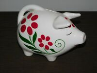 "VINTAGE 8 1/2"" LONG 6"" HIGH PIG FLOWERS CERAMIC BANK"