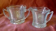 VINTAGE ART DECO CLEAR DEPRESSION GLASS SUGAR BOWL AND CREAMER WAVE PATTERN
