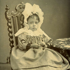 1880s LITTLE GIRL HUGE BONNET CDV PHOTO CARTE DE VISITE VICTORIAN CHILDREN