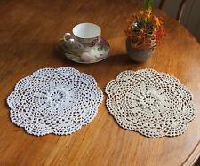 3D Floral Cotton Hand Crochet Lace Doily Doilies Placemat Round 25CM White/Beige