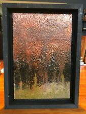 """Original Art Recycled Steel Framed Wall Art Size 8-3/4"""" x 12"""" abstract painting"""