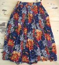 STYLES TO GO - Vtg 90s Floral Pleated Long Length Peasant Cotton Skirt, LARGE