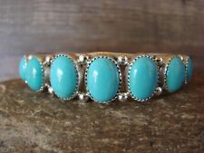 Navajo Indian Jewelry Sterling Silver Turquoise Bracelet - Yazzie
