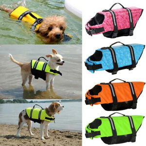 AU Pet Safety Vest Dog Life Jacket Reflective Stripe Preserver Puppy Swimming