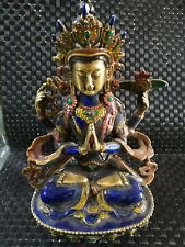 Old chinese Tibet Buddhist Guanyin statue of cloisonne