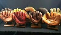Vintage Baseball Glove Display Stand Wood Stained and Sealed Drying Rack-Brown