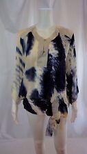 ROBERTO CAVALLI Blue and White Silk Tunic Top Sz 6