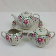 Lomonosov Floral Teapot, Creamer, Sugar Bowl, and Dish