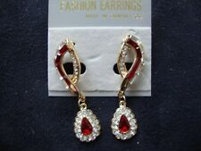 VINTAGE FASHION EARRINGS RED & CLEAR RHINESTONES GOLD TONE DANGLE POST