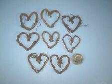 """Mini Heart Shape grapevine Wreath 1"""" 8pc pkg. dollhouse holiday fairy garden"""