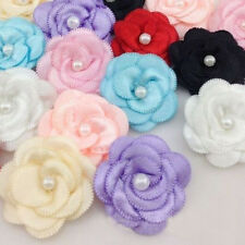 20pcs Flower Satin Ribbon Pearl Hair Bow Wedding Appliques Crafts DIY 13 Colors