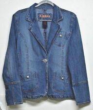 D Jeans Blue Jean Jacket Size XL Stretch Denim Medium Wash Rhinestone Buttons