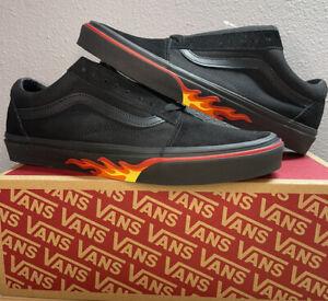 "Vans Old Skool Skate Shoes Black Flame Wall ""Off The Wall"" Men's SZ 12  New!!"