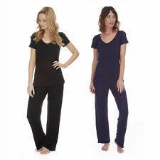 Ladies Womens Viscose Short Sleeve Top & Pants Pyjama Set Night/Lounge Wear S-XL
