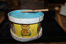 """Ohio Art Tin Litho Drum Vintage 1960s Childs Metal Toy Used 6"""" x 4"""" Childrens"""