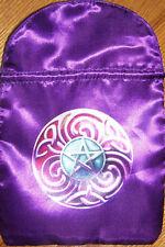 "BRAND NEW! SATIN MAGIC STAR TAROT CARD & RUNE STONES BAG 6"" X 9"" VIOLET PURPLE"