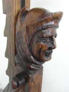 Antique carved wood adjustable Oak candle stand