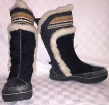 Womens Size 7.5 B KALSO EARTH FROST BLACK Negative Heel Mukluk Winter Fur Boots