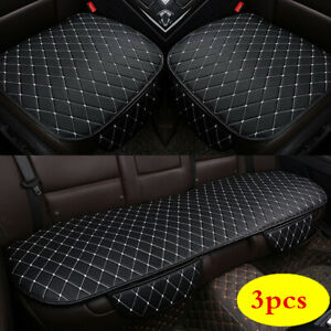 3pcs Black Car SUV Front Rear Seat Cover PU Leather Breathable Cushion Universal