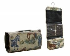 Horse Lovers Tapestry Embroidered Fabric Hanging Toiletry Case For Traveling