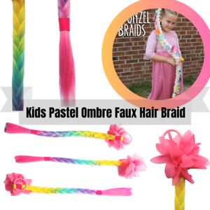 """Rainbow Colour Girls Ponytail Hair Extension Braid 20"""" for Kids X-mas Party"""