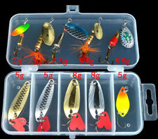 10pcs Mixed Lot Jigs Jig Lure Bait Fishing Lures Spoon Tackle Feather Hooks &Box