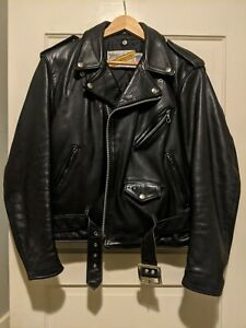 Schott Perfecto Leather Biker Jacket 118 size 40 Made in USA Naked Cowhide