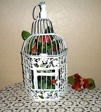 CHIC SHABBY WHITE METAL DECORATIVE FLORAL FILLED BIRDCAGE BIRD CAGE
